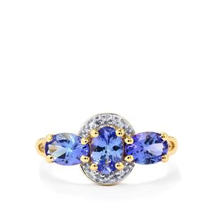 AA Tanzanite Ring with Diamond in 10K Gold 1.75cts
