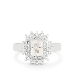 Ice Kunzite & White Topaz Sterling Silver Ring ATGW 1.66cts