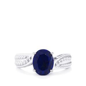 2.54ct Sar-i-Sang Lapis Lazuli Sterling Silver Ring