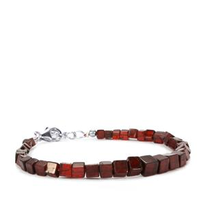 Rhodolite Garnet Graduated Bead Bracelet in Sterling Silver 52cts