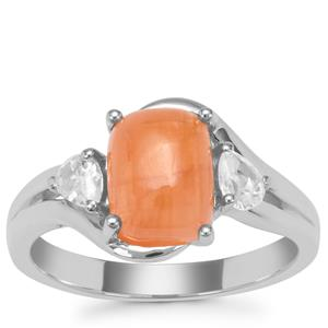 Triphylite Ring with White Zircon in Sterling Silver 3.22cts
