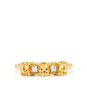 Ouro Preto Imperial Topaz & White Zircon 10K Gold Ring ATGW 1.28cts