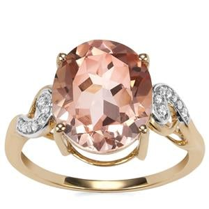 Rose Danburite Ring with White Zircon in 9K Gold 4.48cts