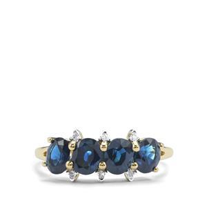 Australian Blue Sapphire & Diamond 10K Gold Ring ATGW 2.03cts