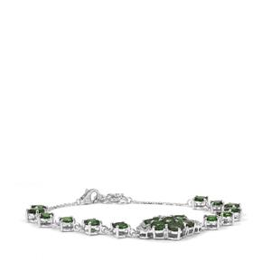 Chrome Tourmaline Bracelet with Diamond in 18K White Gold 6.66cts