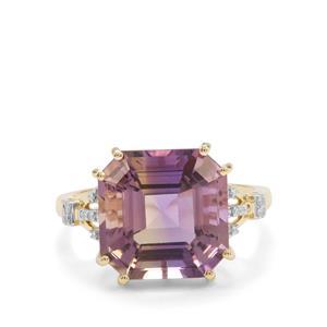 Asscher Cut Anahi Ametrine & Diamond 9K Gold Ring ATGW 7.36cts