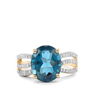 Marambaia London Blue Topaz Ring with White Zircon in 10K Gold 6.07cts