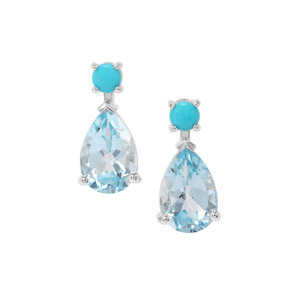Sleeping Beauty Turquoise Earrings with Sky Blue Topaz in Sterling Silver 7.38cts