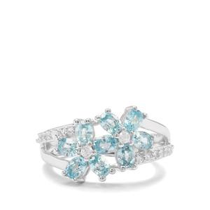 2.64ct Ratanakiri Blue & White Zircon Sterling Silver Ring