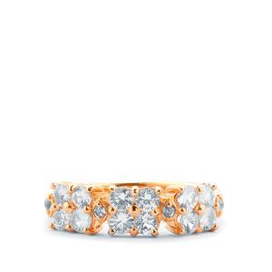 Ceylon White Sapphire Ring with White Topaz in Gold Plated Sterling Silver ATGW 1.20cts