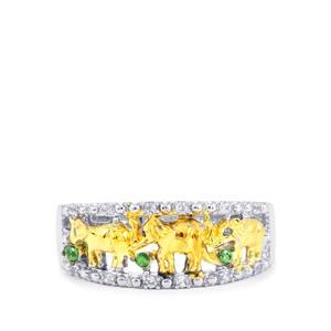 Tsavorite Garnet Ring with White Zircon in Sterling Silver 0.26ct
