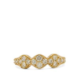 Natural Yellow Diamond Ring in 9K Gold 0.78ct