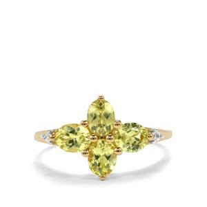Brazilian Chrysoberyl Ring with Zircon in 10k Gold 1.66cts