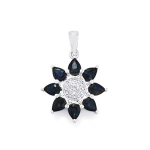 Australian Blue Sapphire & Diamond 9K White Gold Pendant ATGW 2.25cts