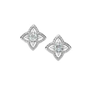 Sokoto Aquamarine Earrings with White Zircon in Sterling Silver 1.13cts