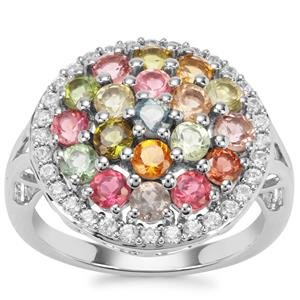 Rainbow Tourmaline Ring with White Zircon in Platinum Plated Sterling Silver 3.12cts