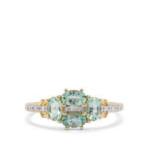 Aquaiba™ Beryl & Diamond 9k Gold Ring 0.85ct
