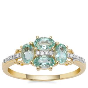 Aquaiba™ Beryl Ring with Diamond in 9K Gold 0.85cts