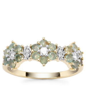 Alexandrite Ring with White Zircon in 9K Gold 0.86ct