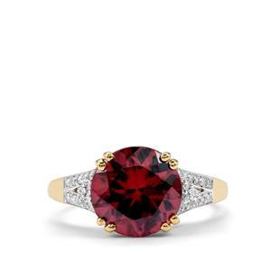Zanzibar Zircon Ring with Diamond in 18K Gold 5.32cts