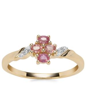 Padparadscha Sapphire Ring with Diamond in 9K Gold 0.41ct