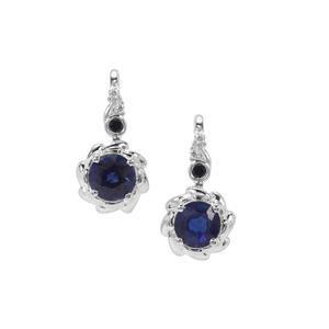 Nilamani, Thai Sapphire Earrings with White Zircon in Sterling Silver 1.30cts