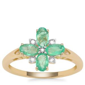 Colombian Emerald Ring with Diamond in 9K Gold 0.90ct