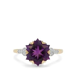 Wobito Snowflake Cut Moroccan Amethyst Ring with Diamond in 9K Gold 4.22cts