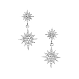 White Topaz Star Earrings in Sterling Silver 0.56cts