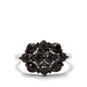 1.35ct Black Spinel Sterling Silver Ring