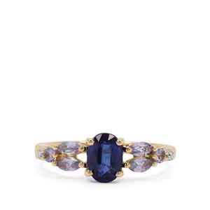 Nilamani, AA Tanzanite Ring with Diamond in 9K Gold 1.60cts