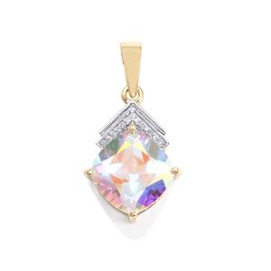 Mercury Mystic Topaz Pendant with Diamond in 10K Gold 5cts