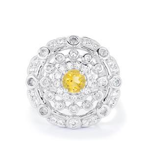 Rio Golden Citrine & White Topaz Sterling Silver Ring ATGW 1.49cts