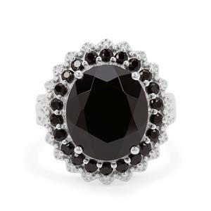Black Spinel Ring in Sterling Silver 11.10cts