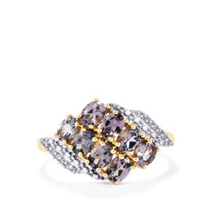 Mahenge Blue Spinel Ring with White Zircon in 9K Gold 1.52cts