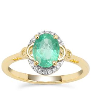Siberian Emerald Ring with White Zircon in 9K Gold 1.23cts
