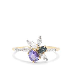 Nigerian Blue Sapphire, AA Tanzanite & White Zircon 9K Gold Ring ATGW 1.13cts
