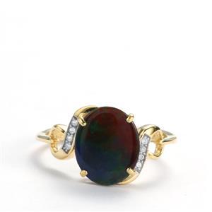 AA Ammolite & White Zircon 9K Gold Ring (11mm x 9mm)