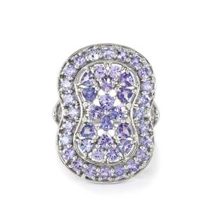 AA Tanzanite & White Zircon Sterling Silver Ring ATGW 3.75cts