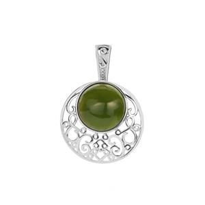 Canadian Nephrite Jade Pendant in Sterling Silver 6.10cts