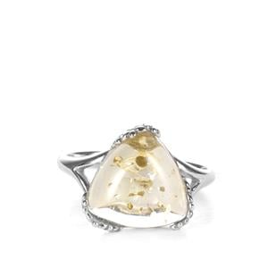 Baltic Champagne Amber Sterling Silver Ring (12mm)