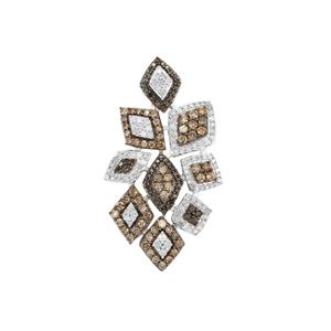 1.75ct Black, Champagne & White Diamond Sterling Silver Pendant