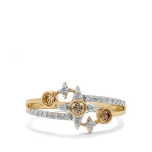 Natural Coloured Diamond Ring with White Diamond in 10K Gold 0.37ct