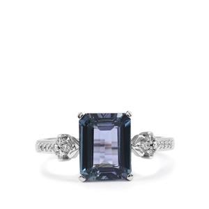 Bi Colour Tanzanite Ring with Diamond in 18K White Gold 2.39cts