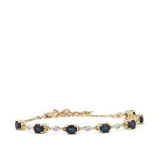 Australian Blue Sapphire Bracelet with Diamond in 10K Gold 2.47cts