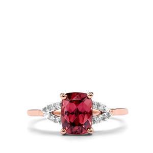 Zanzibar Zircon & Diamond 9K Rose Gold Ring ATGW 2.36cts
