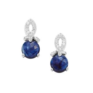 Rose Cut Sapphire Earrings with White Zircon in Sterling Silver 2.58cts
