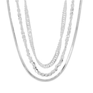 """18"""" Sterling Silver Set of Three Chain 10.25g"""