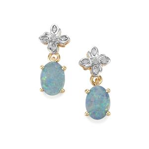 Crystal Opal on Ironstone & Diamond 9K Gold Earrings