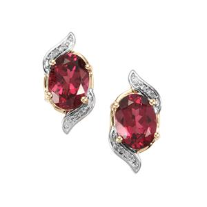 Mahenge Garnet Earrings with Diamond in 9K Gold 3.19cts